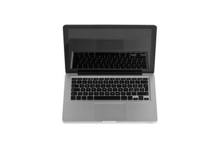 studio shot of a aluminium laptop isolated on white