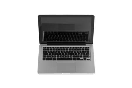 studio shot of a aluminium laptop isolated on white