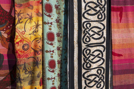 colorful fabrics close-up