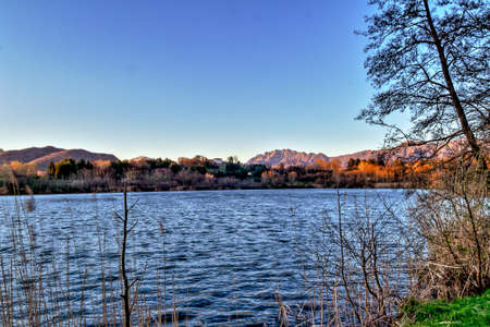 Landscape of the Lake Sartirana in Merate Lc Lombardy Italy