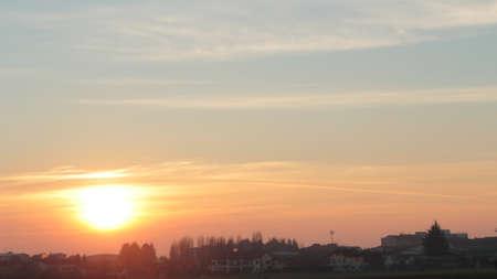 Sunset over the country town of Bernareggio Archivio Fotografico