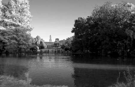 An urban landascape of Milan39s Parco Sempione and the Castello Sforzesco