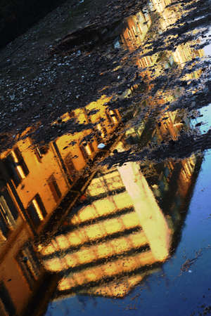 Building reflections on Milans canals Archivio Fotografico