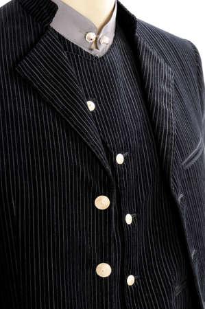 velvet dress: Groom dress in velvet; comprising  poplin shirt, velvet vest, velvet jacket, velvet pants Stock Photo