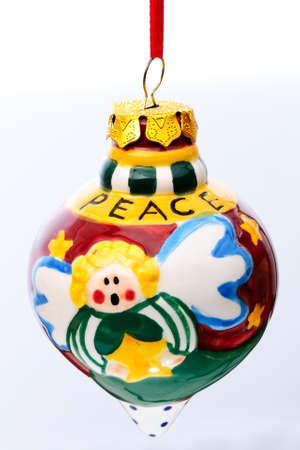 Christmas tree decorations and nativity Christian Catholic isolated on white background. photo