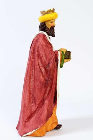 balthazar: Individual elements of the Catholic Christian crib isolated on white background. Stock Photo