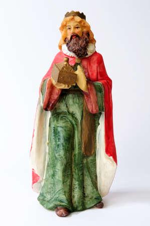 nativity scene: Individual elements of the Catholic Christian crib isolated on white background. Stock Photo