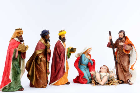 Elements of the Catholic Christian crib isolated on white background. Stock Photo