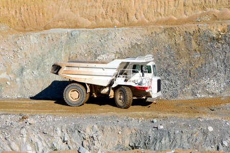 talc: Vehicles involved in a mine extraction of talc.