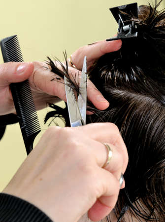 Cutting hair on adult woman of Caucasian origin