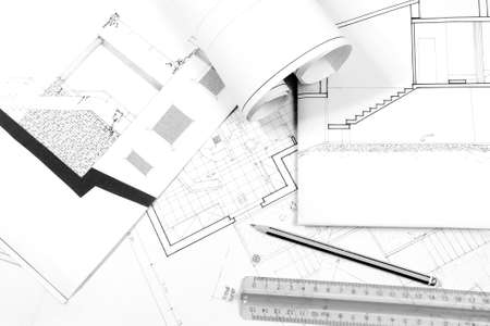 residential home: Image in black white of boards of a project for residential home