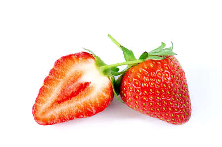 grocer: Picture of fresh strawberries freshly picked, photographed on white background