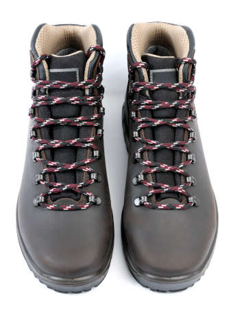 shoe strings: Waterproof Trekking shoes mens leather brown on white background.
