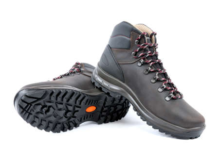 nonslip: Waterproof Trekking shoes mens leather brown on white background.