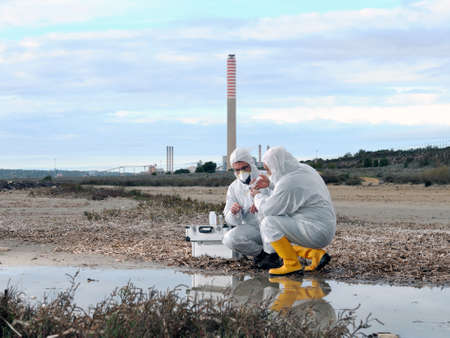 Collecting water samples for the analysis of its pollution near to an industrial complex