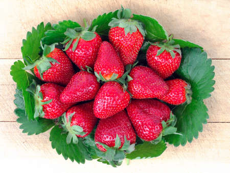 grocer: Picture of beautiful and fragrant fresh strawberries freshly picked Stock Photo