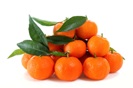 clementines: Clementines fresh products in organic farming, photographed on white background Stock Photo