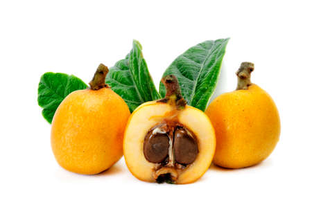 seasonality: Medlars produced with organic cultivation photograph on a white background