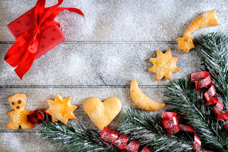 Top view of decorations for Christmas and New Year on an aged wooden table.