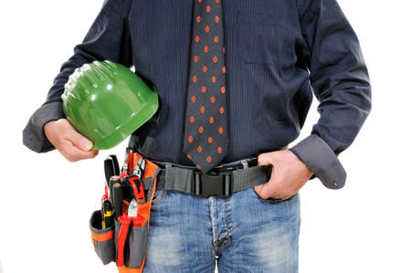 Elegant electrician technician with protection helmet in hand isolated on white background. Stock Photo