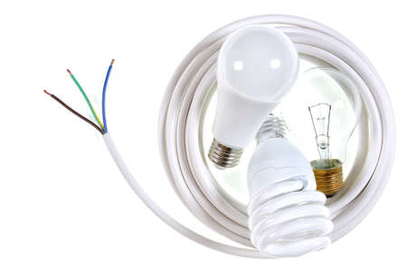 Close-up of components for a residential electrical installation, photographed on a white background.