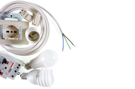 Close-up of electrical equipment on a white background with space for text  announcement.
