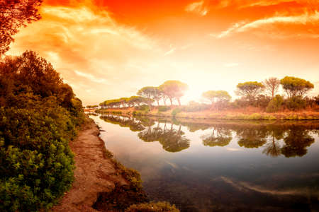Beautiful landscape at sunrise of a pond with the reflection of the trees and the sky on the water. Stagno Petrosu, Orosei. Sardinia. Stock Photo