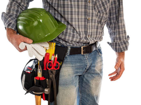Adult craftsman carpenter isolated on white background, he is holding his helmet and leather work gloves. Work tools industry construction, do it yourself housework. Stock photography. Stok Fotoğraf