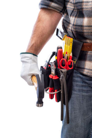 Carpenter isolated on white background, he wears leather work gloves and is holding a carpenter's hammer. Work tools industry construction and do it yourself housework. Stock photography.