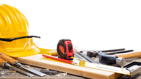 Close-up. Carpenter's workbench  with tools for woodworking. Construction industry. Isolated on a white background. 版權商用圖片 - 143805110