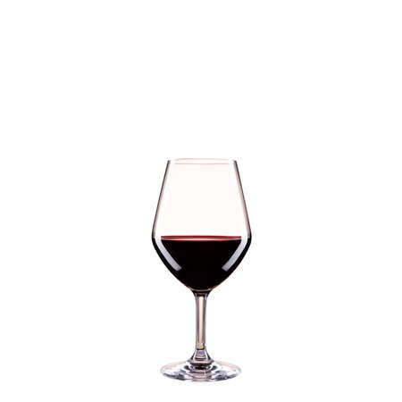 Close up of red wine goblet on isolated white background. Food drinks.