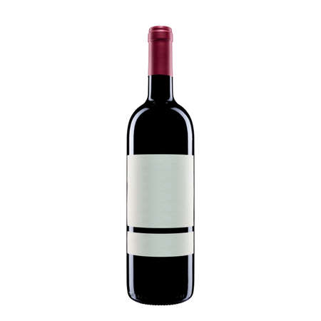 Close up of red wine bottle isolated on white background. Food drinks.