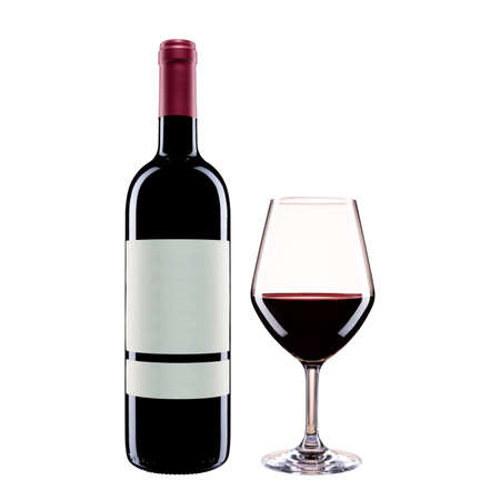 Close up of bottle and goblet of red wine isolated on white background. Food drinks. Standard-Bild