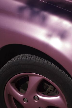 Detail of a pink wheel