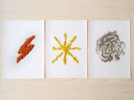 3 type of ingredients creates different shape.