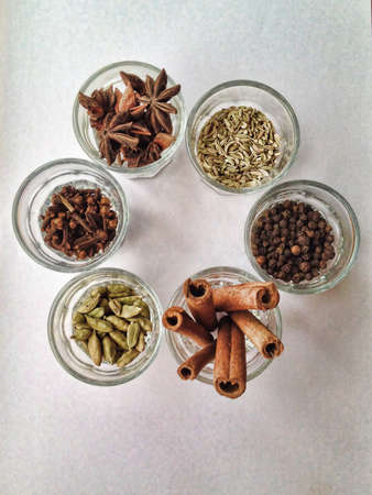 6 different type of spices. Stock Photo