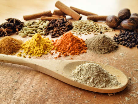 Spices ingredient on paint palette.
