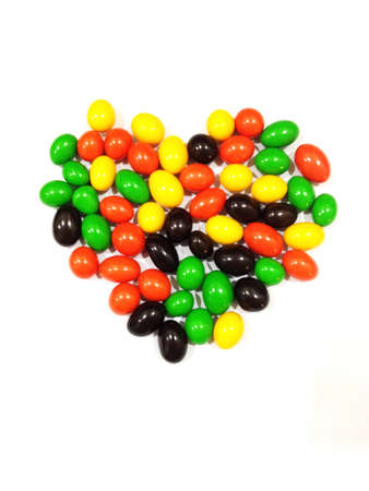 Color candy forming love shape