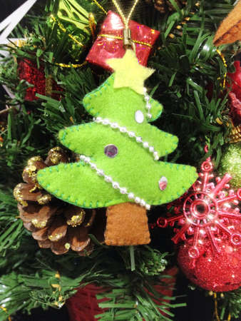 Handmade Christmas tree for decoration. Stock Photo