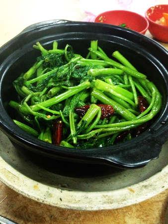 Claypot salty fish Ong Choy