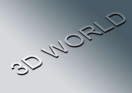 3D world text emboss in gradient background