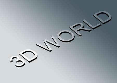 emboss: 3D world text emboss in gradient background
