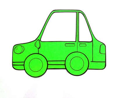 Green color car in cut board. Stock Photo