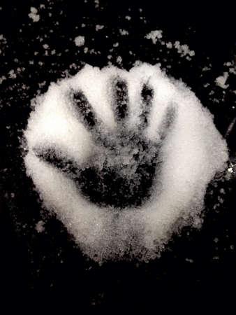 Hand mark on magic snow.