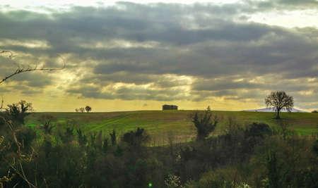 zonsondergang op het platteland
