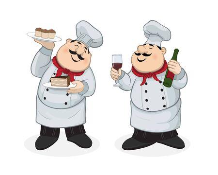 Chef con postre y chef con vino tinto