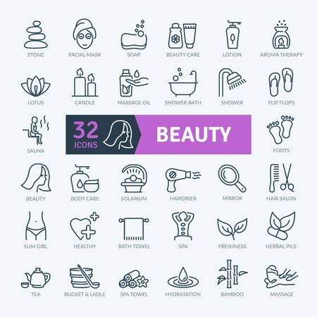 Beauty Icons Set. Thin line icons set. Outline icons collection. Simple vector icons