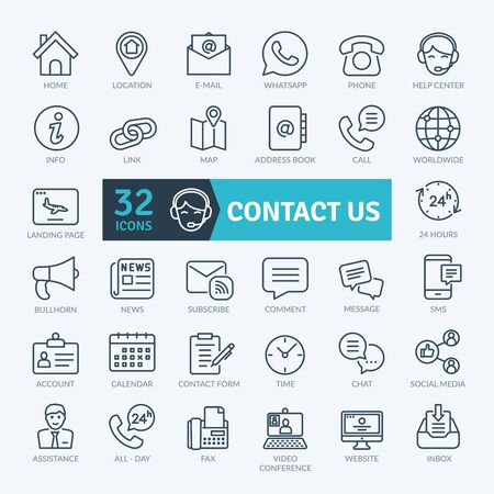 Contact Us Icons Set. Thin line icons set. Outline icons collection. Simple vector icons Vector Illustratie