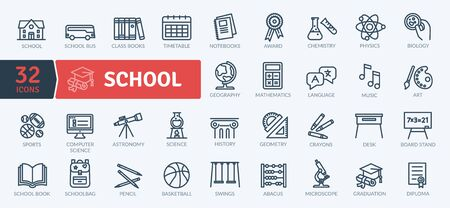 School Icons Set. Thin line icons set. Outline icons collection. Simple vector icons Illustration