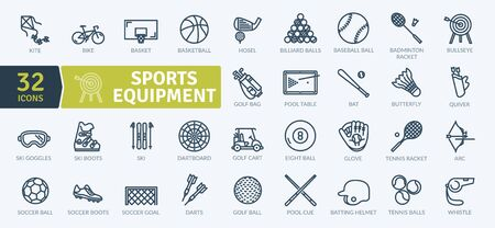 Sports Equipment Icons Pack. Thin line icons set. Flaticon collection set. Simple vector icons Illusztráció